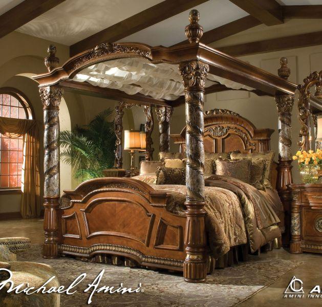 Michael Amini Villa Valencia King Size, Canopy Bed King Size