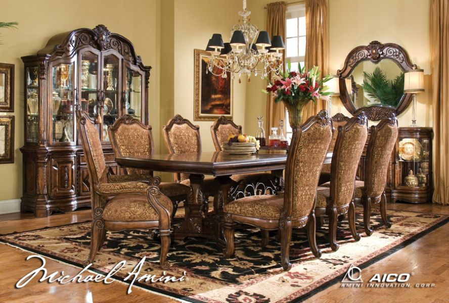 Aico 8pc Windsor Court Rectangular, Dining Room Set With China Cabinet